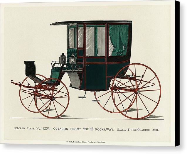 Black Antique Carriage Illustration, 1885 - Canvas Print from Wallasso - The Wall Art Superstore