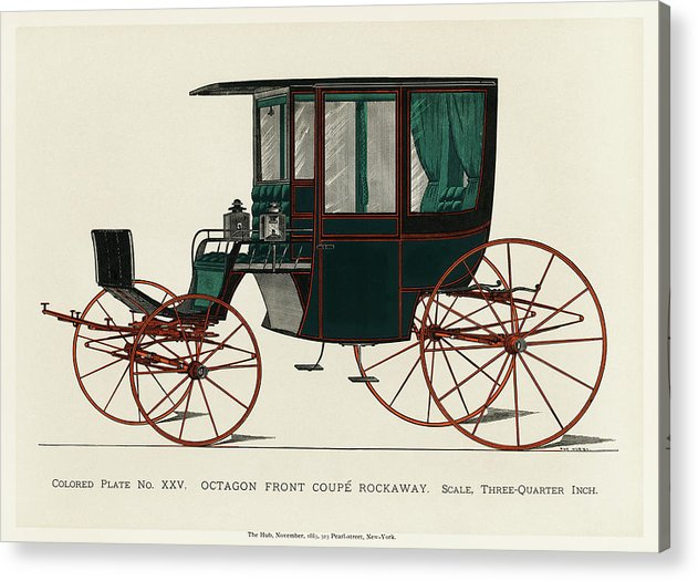 Black Antique Carriage Illustration, 1885 - Acrylic Print from Wallasso - The Wall Art Superstore
