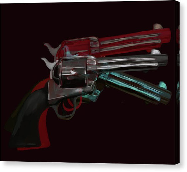 Black Pop Art Colt 45 Revolver by Jessica Contreras - Canvas Print from Wallasso - The Wall Art Superstore