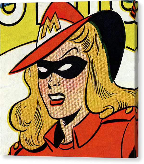 Blonde Female Superhero In Red Hat, Vintage Comic Book - Canvas Print from Wallasso - The Wall Art Superstore