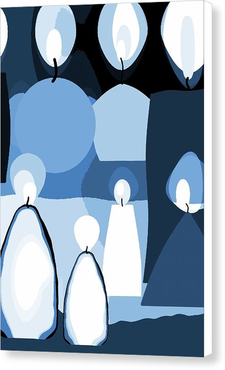 Blue Abstract Candles - Canvas Print from Wallasso - The Wall Art Superstore
