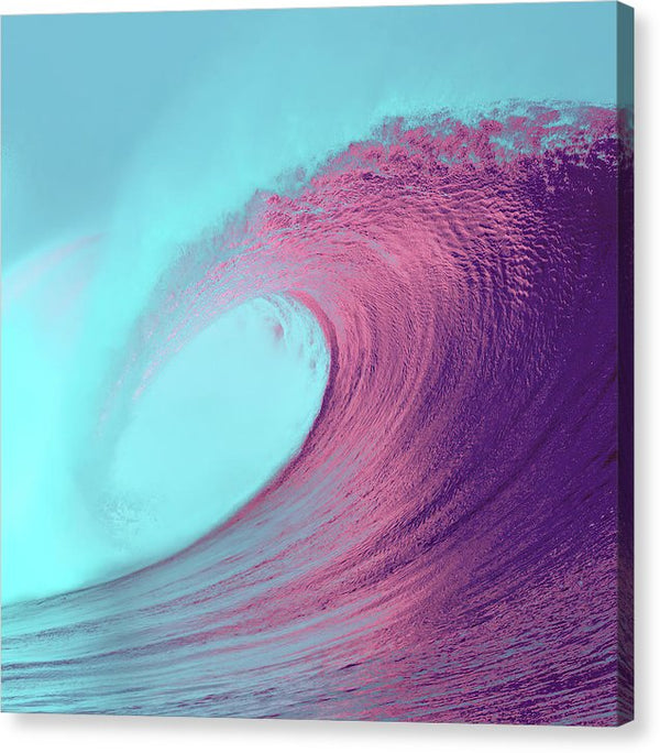 Blue And Pink Ocean Wave - Canvas Print from Wallasso - The Wall Art Superstore