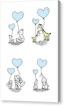 Blue Baby Animals With Heart Balloons For Kids - Canvas Print from Wallasso - The Wall Art Superstore