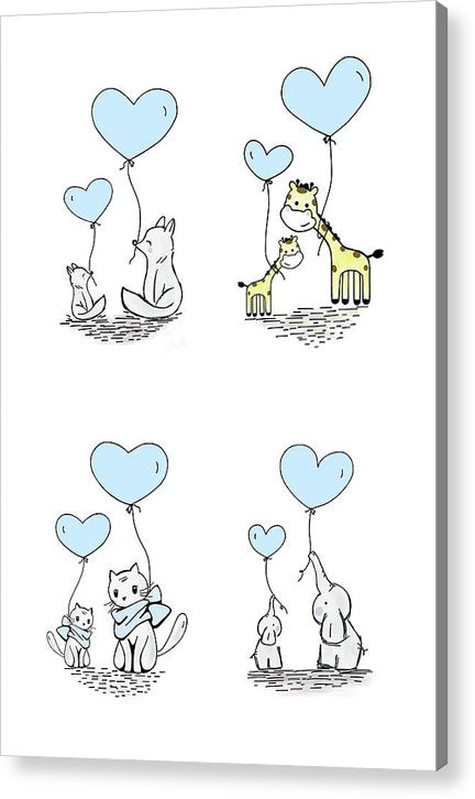 Blue Baby Animals With Heart Balloons For Kids - Acrylic Print from Wallasso - The Wall Art Superstore