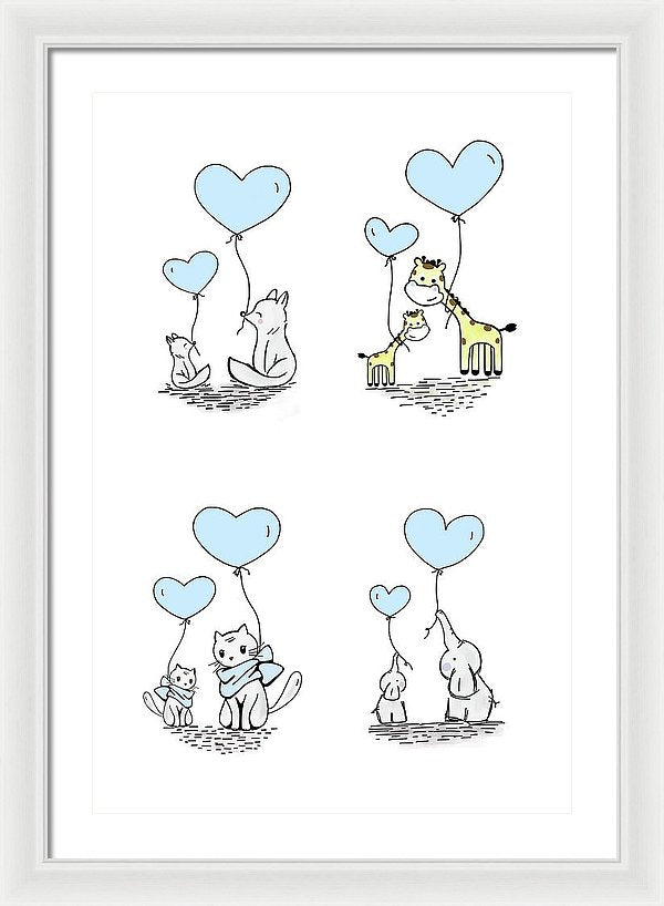Blue Baby Animals With Heart Balloons For Kids - Framed Print from Wallasso - The Wall Art Superstore