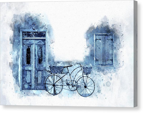 Blue Bicycle and Wall Watercolor Painting - Canvas Print from Wallasso - The Wall Art Superstore