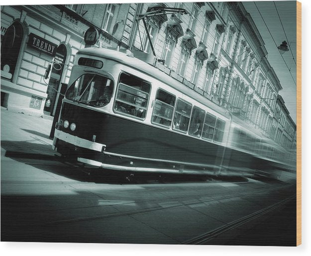 Blue Cable Car Train In Motion - Wood Print from Wallasso - The Wall Art Superstore