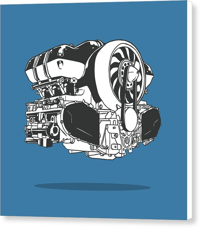 Blue Car Engine Illustration - Canvas Print from Wallasso - The Wall Art Superstore
