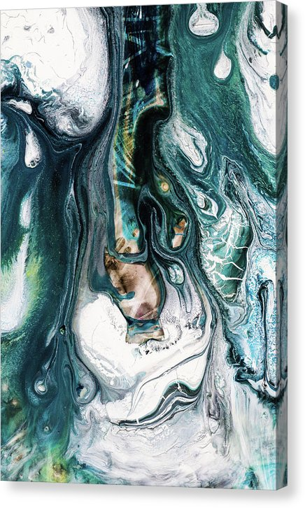 Blue Green Toned Acrylic Pour Painting - Canvas Print from Wallasso - The Wall Art Superstore