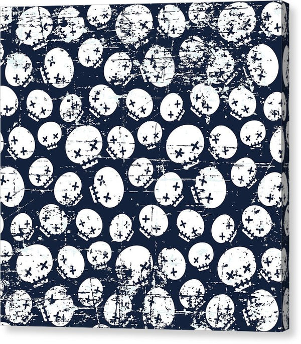 Blue Grunge Skull Pattern - Canvas Print from Wallasso - The Wall Art Superstore