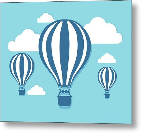 Blue Hot Air Balloons For Kids - Metal Print from Wallasso - The Wall Art Superstore