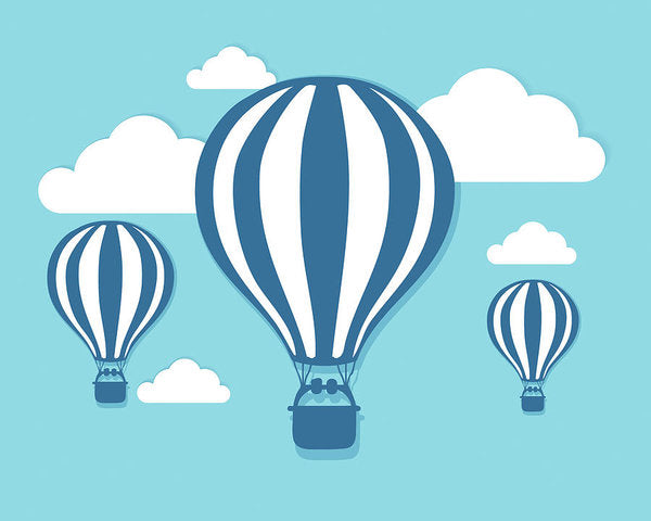 Blue Hot Air Balloons For Kids - Art Print from Wallasso - The Wall Art Superstore