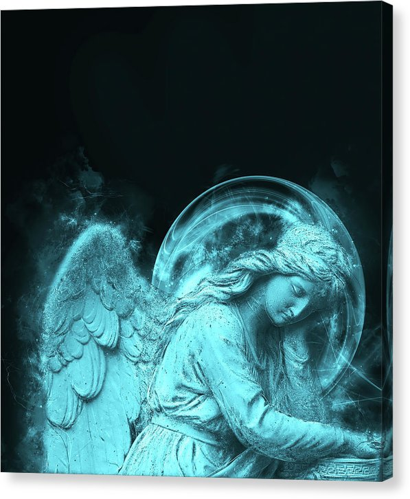 Blue Modern Angel Statue Design - Canvas Print from Wallasso - The Wall Art Superstore