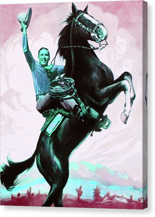 Blue Pop Art Retro Cowboy Rearing On Horse - Canvas Print from Wallasso - The Wall Art Superstore