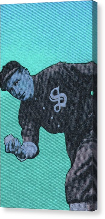 Blue Pop Art Vintage Baseball Player Illustration - Canvas Print from Wallasso - The Wall Art Superstore
