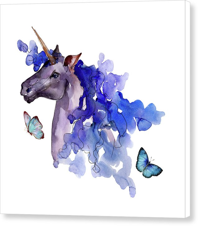 Blue Watercolor Unicorn With Butterflies - Canvas Print from Wallasso - The Wall Art Superstore