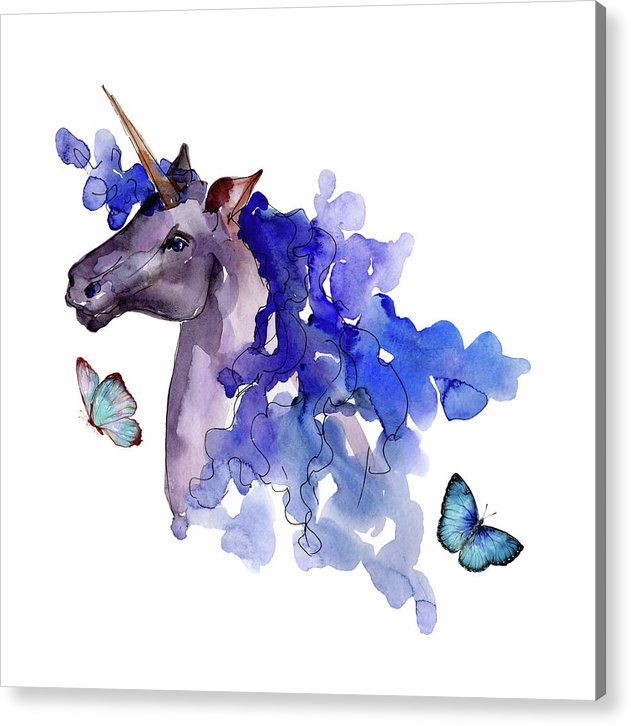 Blue Watercolor Unicorn With Butterflies - Acrylic Print from Wallasso - The Wall Art Superstore
