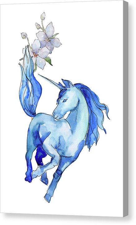 Blue Watercolor Unicorn With Flowers - Canvas Print from Wallasso - The Wall Art Superstore