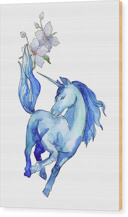 Blue Watercolor Unicorn With Flowers - Wood Print from Wallasso - The Wall Art Superstore