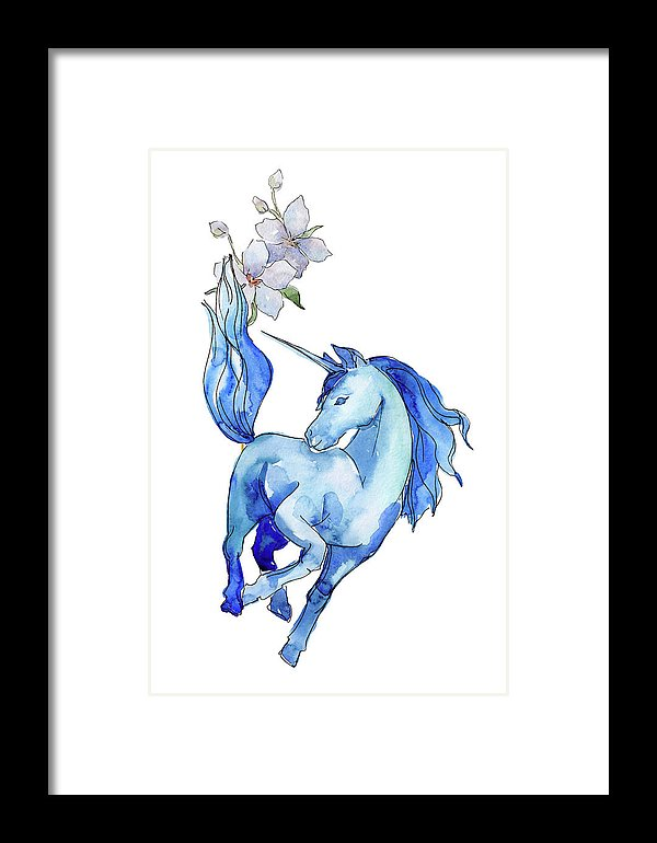 Blue Watercolor Unicorn With Flowers - Framed Print from Wallasso - The Wall Art Superstore