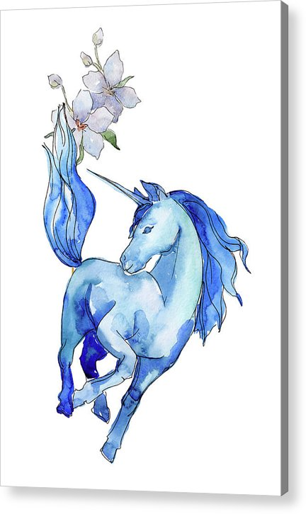 Blue Watercolor Unicorn With Flowers - Acrylic Print from Wallasso - The Wall Art Superstore