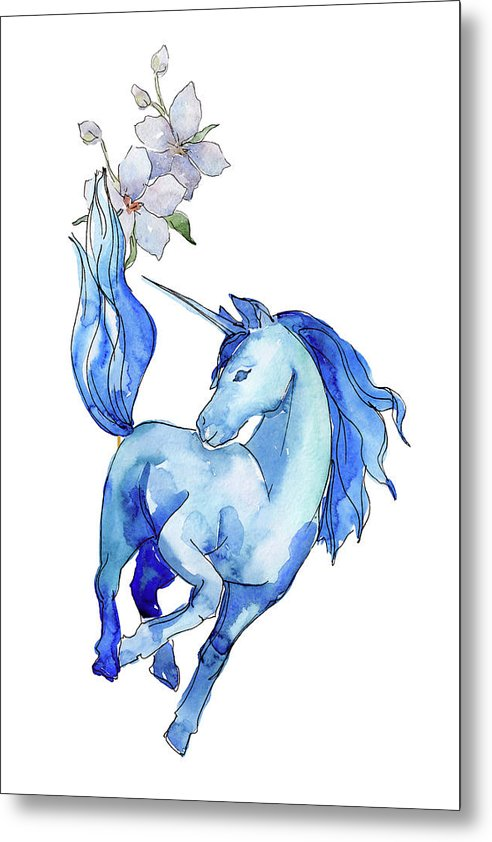 Blue Watercolor Unicorn With Flowers - Metal Print from Wallasso - The Wall Art Superstore