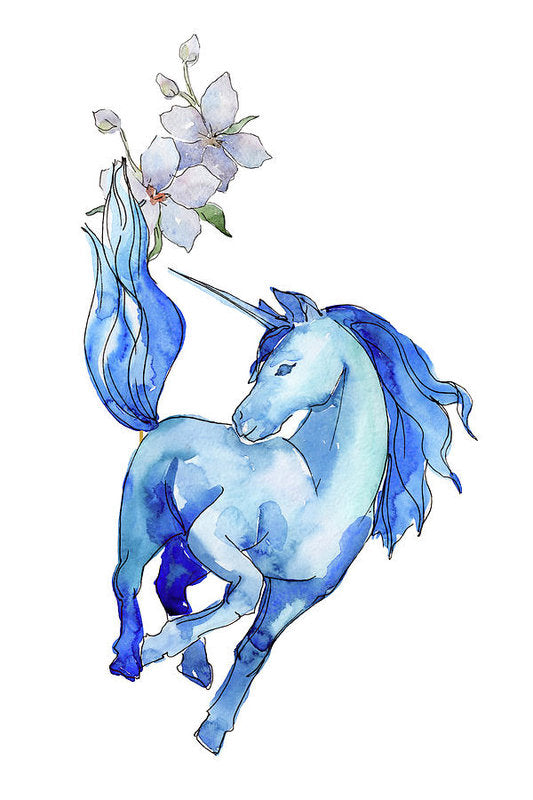 Blue Watercolor Unicorn With Flowers - Art Print from Wallasso - The Wall Art Superstore