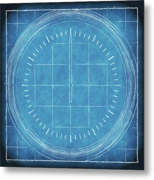 Blueprint Compass - Metal Print from Wallasso - The Wall Art Superstore