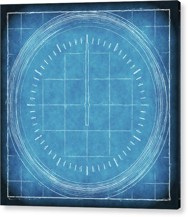 Blueprint Compass - Acrylic Print from Wallasso - The Wall Art Superstore
