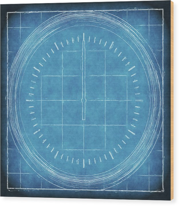Blueprint Compass - Wood Print from Wallasso - The Wall Art Superstore