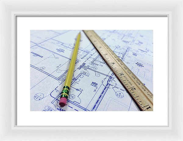Blueprint With Ruler and Pencil - Framed Print from Wallasso - The Wall Art Superstore