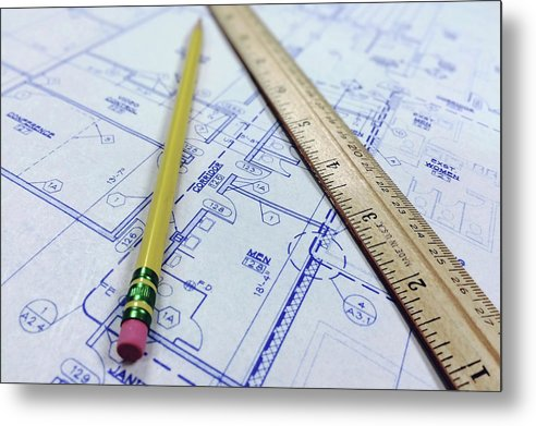 Blueprint With Ruler and Pencil - Metal Print from Wallasso - The Wall Art Superstore