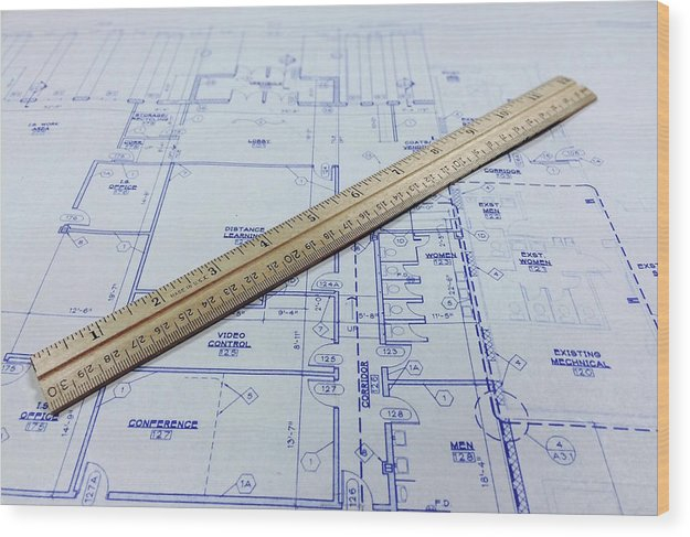 Blueprint With Ruler - Wood Print from Wallasso - The Wall Art Superstore