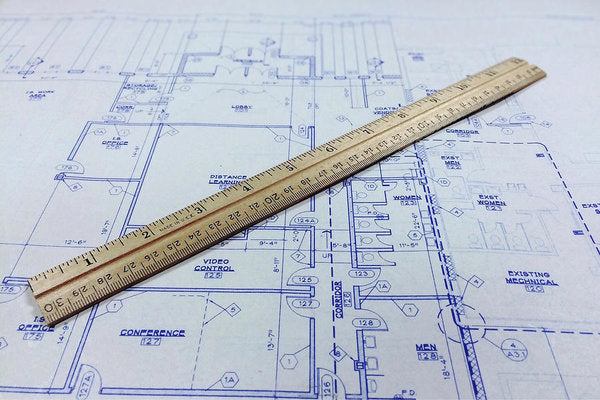 Blueprint With Ruler - Art Print from Wallasso - The Wall Art Superstore