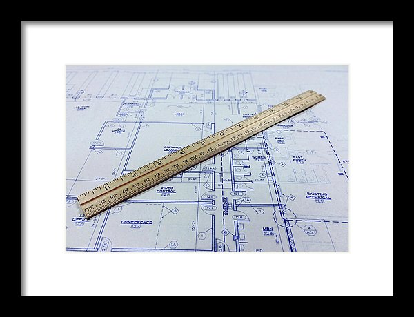 Blueprint With Ruler - Framed Print from Wallasso - The Wall Art Superstore