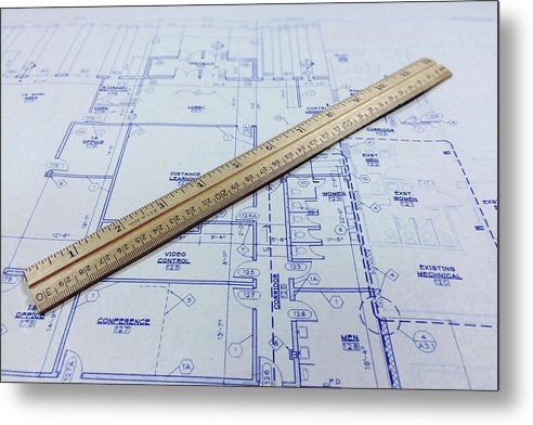 Blueprint With Ruler - Metal Print from Wallasso - The Wall Art Superstore
