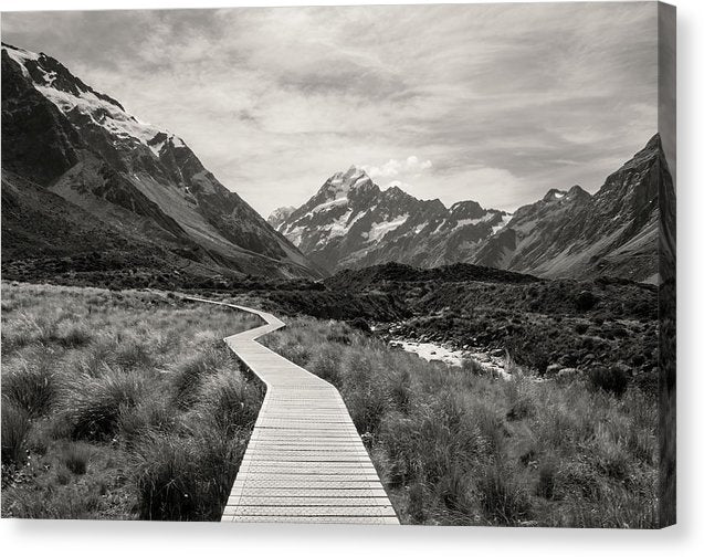 Boardwalk At The Base of Mountains - Canvas Print from Wallasso - The Wall Art Superstore