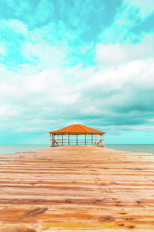 Boardwalk Gazebo With Bright Blue Sky - Art Print from Wallasso - The Wall Art Superstore