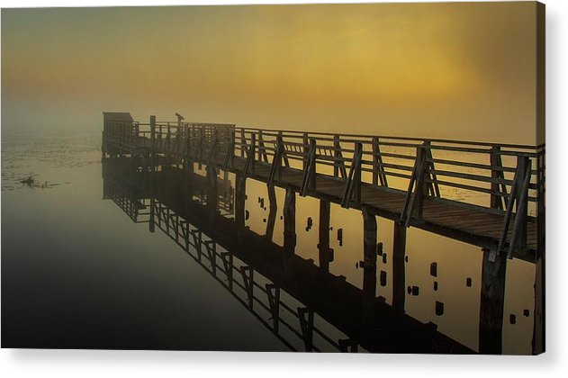 Boardwalk In Yellow Lake Fog - Acrylic Print from Wallasso - The Wall Art Superstore