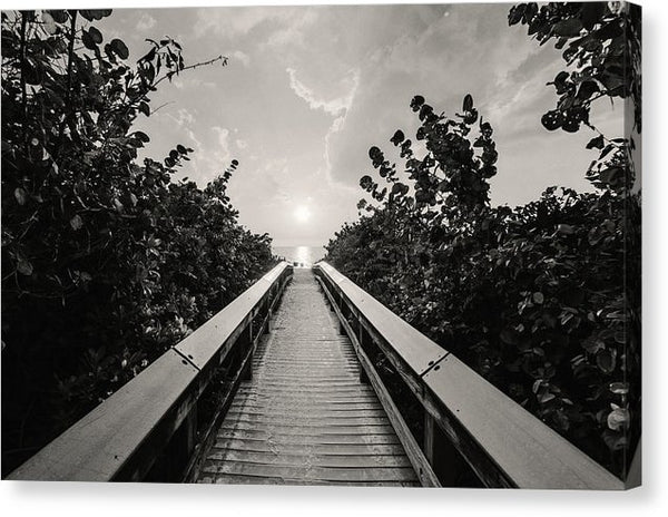 Boardwalk Leading To Beach, Sepia - Canvas Print from Wallasso - The Wall Art Superstore