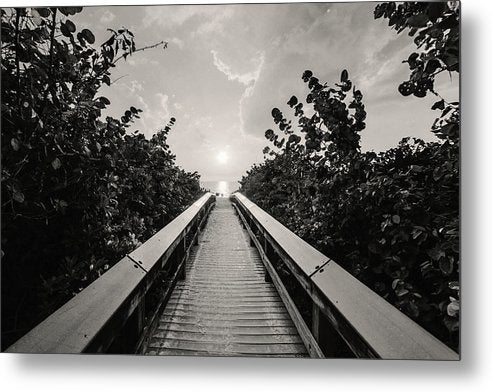 Boardwalk Leading To Beach, Sepia - Metal Print from Wallasso - The Wall Art Superstore