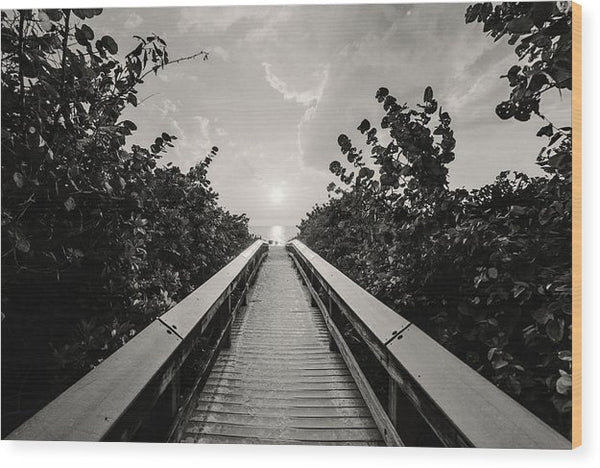 Boardwalk Leading To Beach, Sepia - Wood Print from Wallasso - The Wall Art Superstore