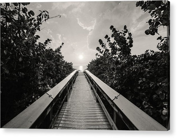 Boardwalk Leading To Beach, Sepia - Acrylic Print from Wallasso - The Wall Art Superstore