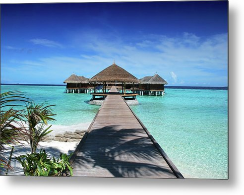Boardwalk To Tropical Huts Over Crystal Blue Water - Metal Print from Wallasso - The Wall Art Superstore