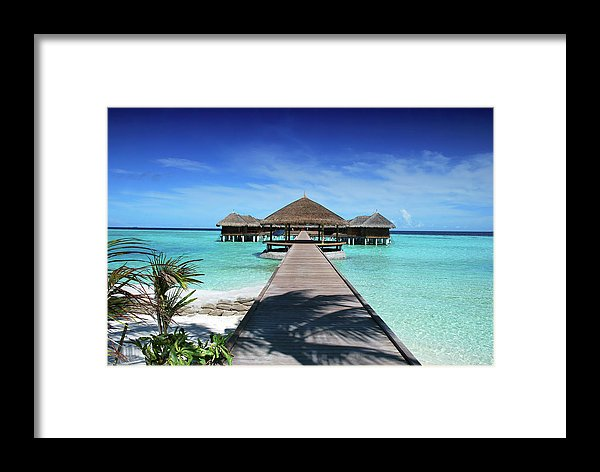 Boardwalk To Tropical Huts Over Crystal Blue Water - Framed Print from Wallasso - The Wall Art Superstore