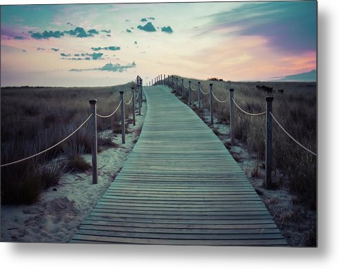 Boardwalk Under Rainbow Colored Sky - Metal Print from Wallasso - The Wall Art Superstore