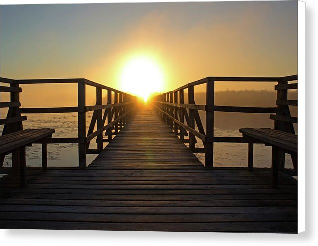 Boardwalk With Benches Leading Into Sunset - Canvas Print from Wallasso - The Wall Art Superstore