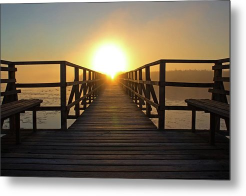 Boardwalk With Benches Leading Into Sunset - Metal Print from Wallasso - The Wall Art Superstore