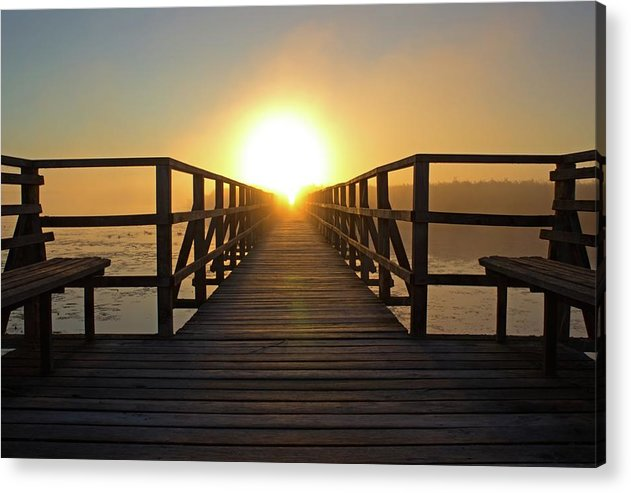 Boardwalk With Benches Leading Into Sunset - Acrylic Print from Wallasso - The Wall Art Superstore