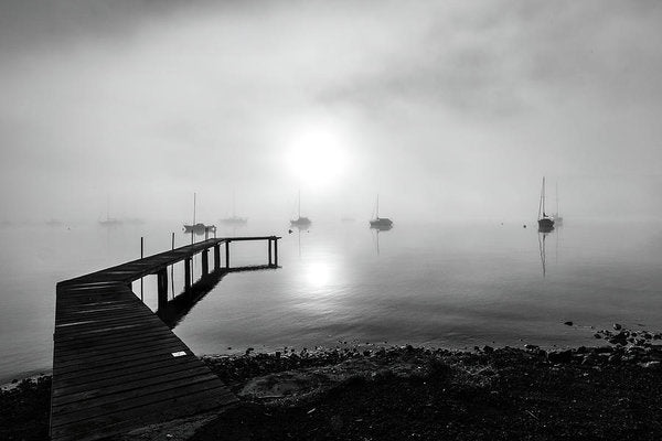 Boardwalk With Sailboats and Fog - Art Print from Wallasso - The Wall Art Superstore